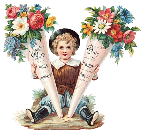 Flower Ephemera, Boy with Tussie Mussies