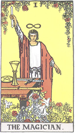 Red Roses in The Magician Tarot card